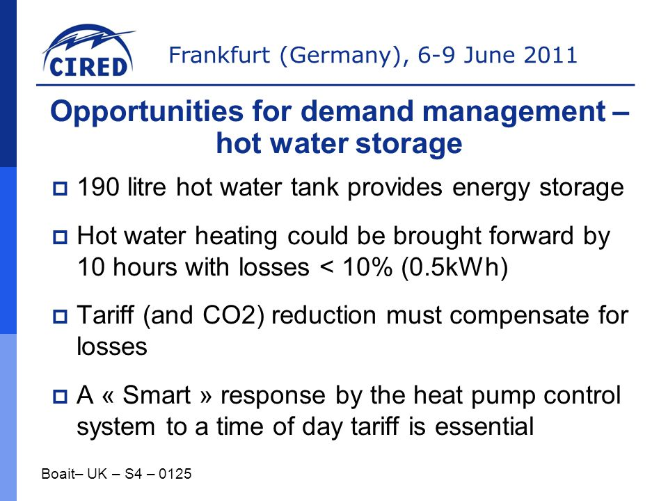 Opportunities for demand management – hot water storage