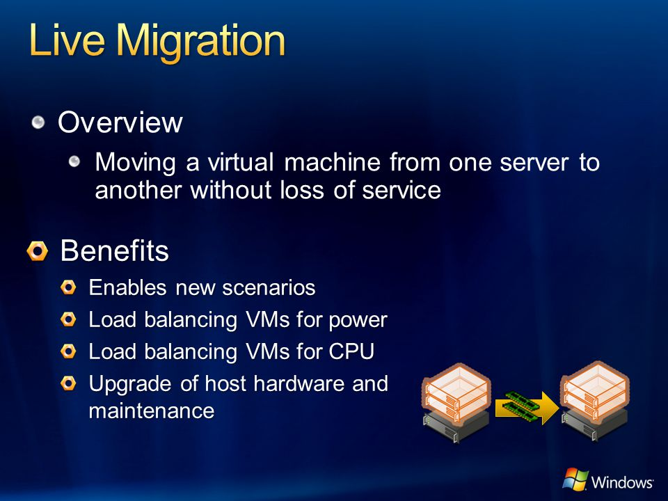 Live Migration Overview Benefits