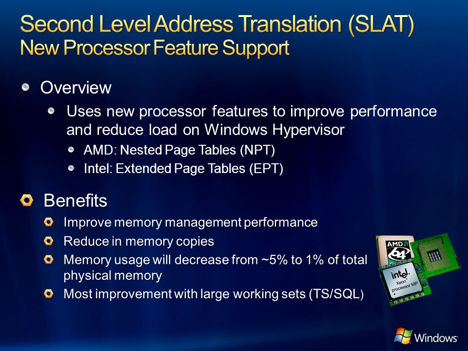 Second Level Address Translation (SLAT) New Processor Feature Support