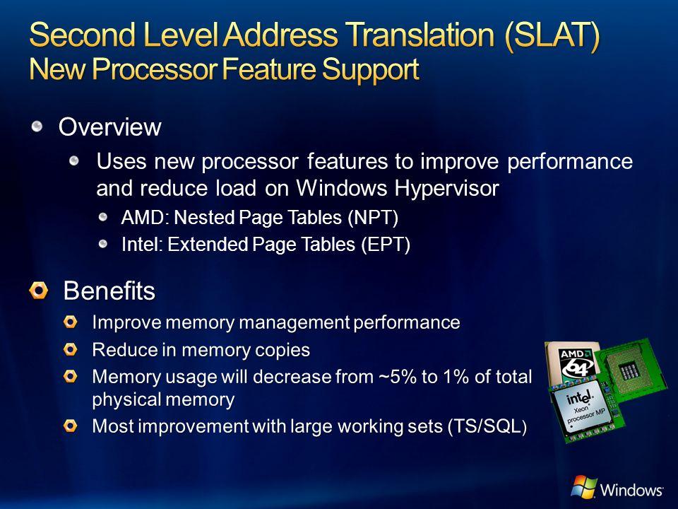 Second Level Address Translation (SLAT) New Processor Feature Support