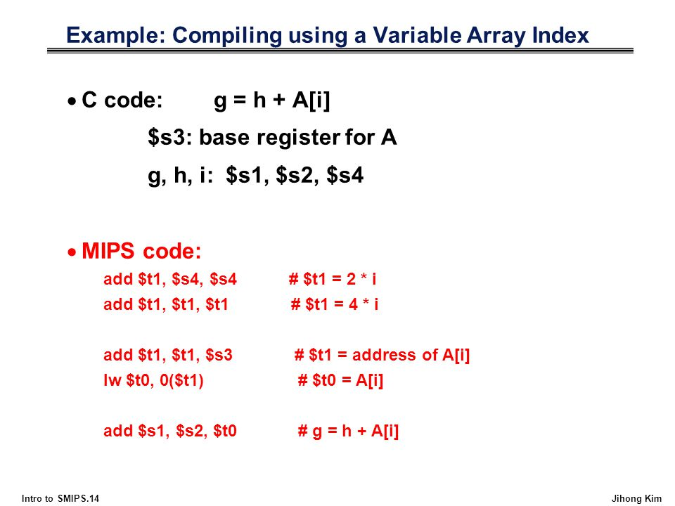 Example: Compiling using a Variable Array Index