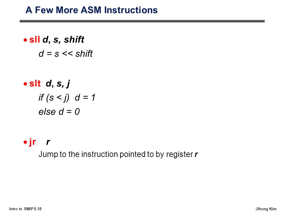 A Few More ASM Instructions