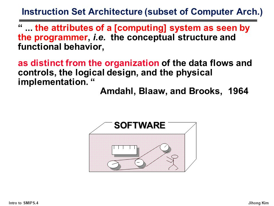 Instruction Set Architecture (subset of Computer Arch.)