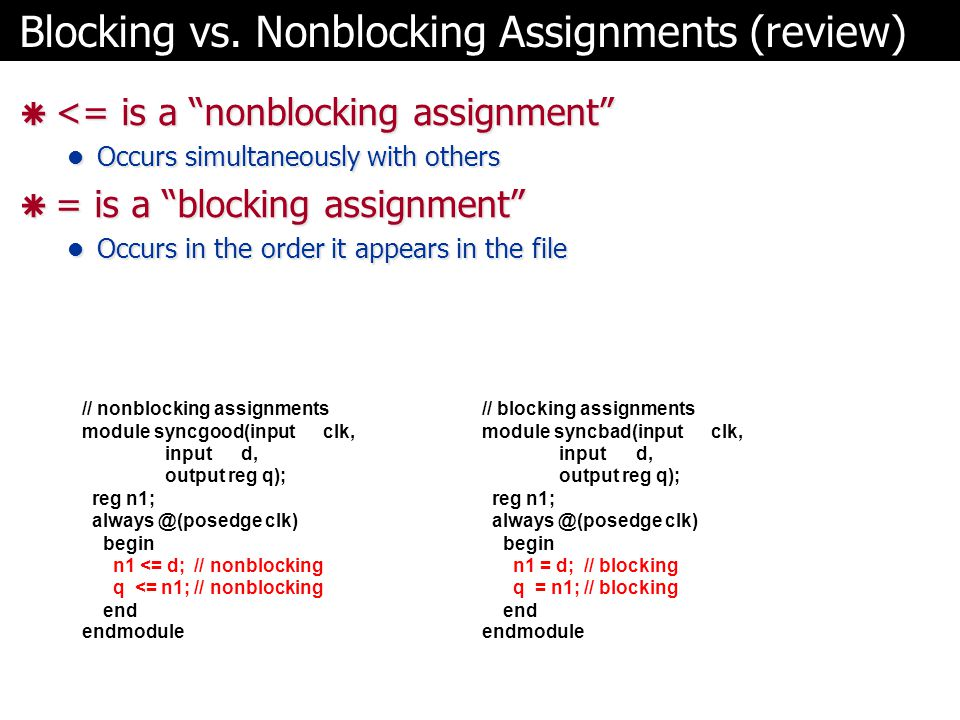 Blocking vs. Nonblocking Assignments (review)