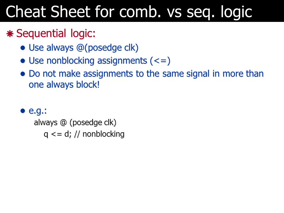 Cheat Sheet for comb. vs seq. logic
