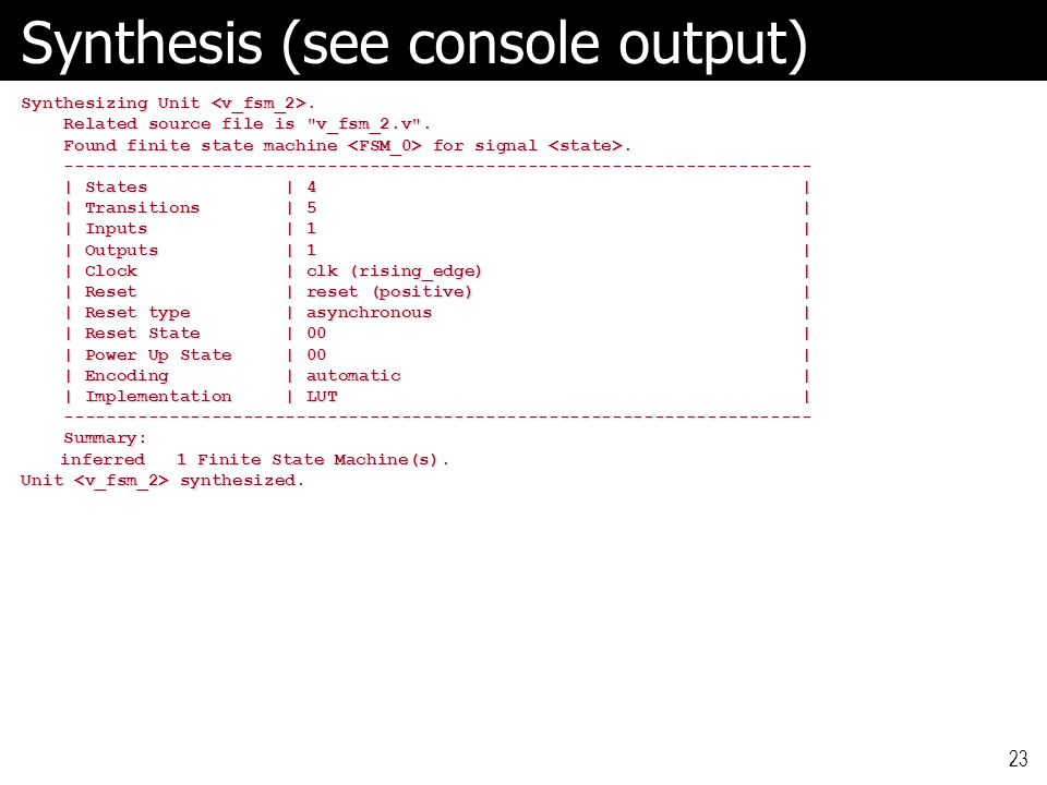 Synthesis (see console output)