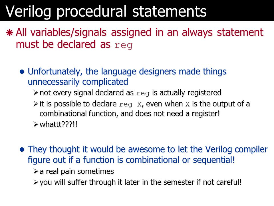 Verilog procedural statements