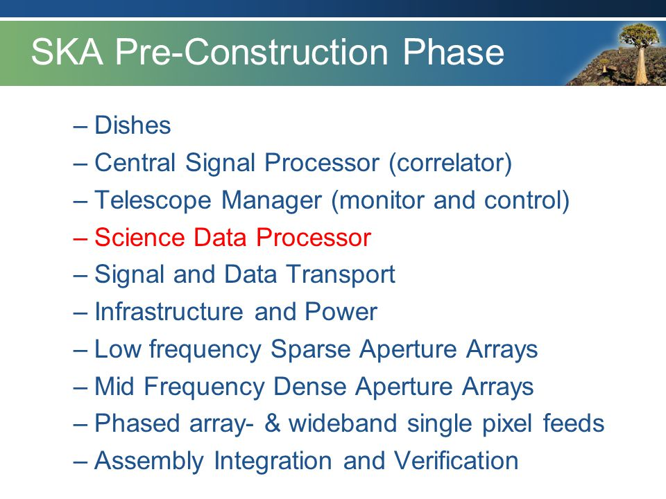 SKA Pre-Construction Phase