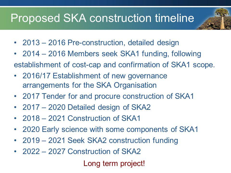 Proposed SKA construction timeline