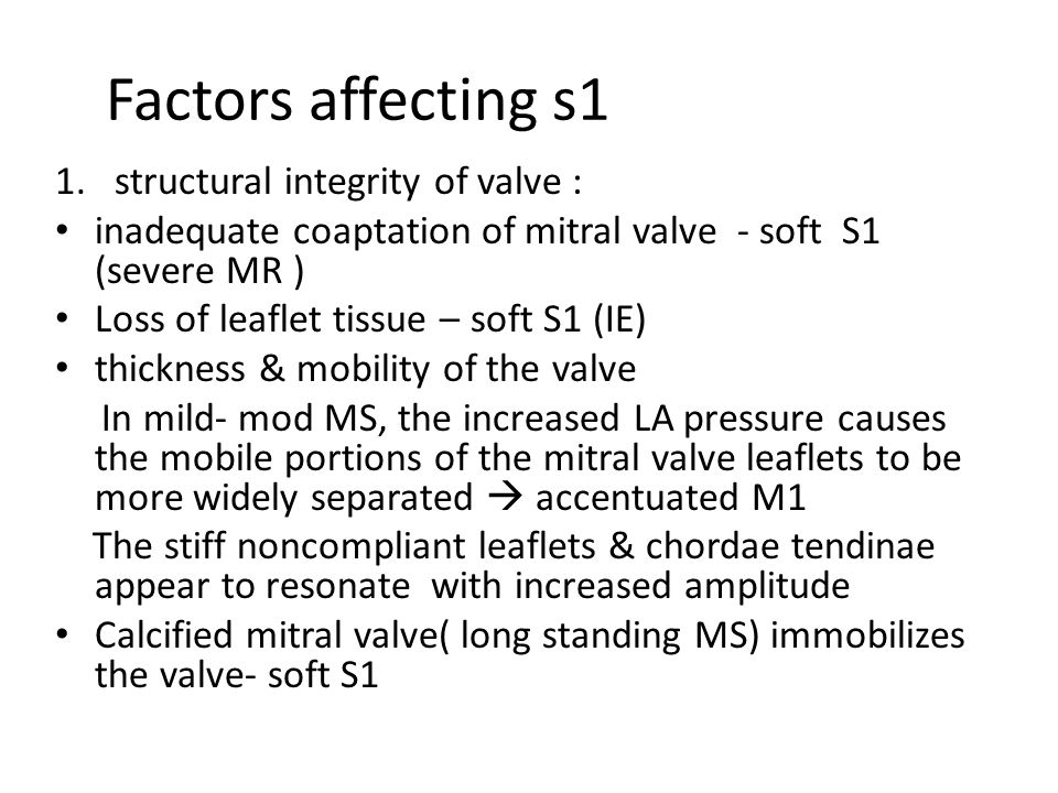 Factors affecting s1 structural integrity of valve :