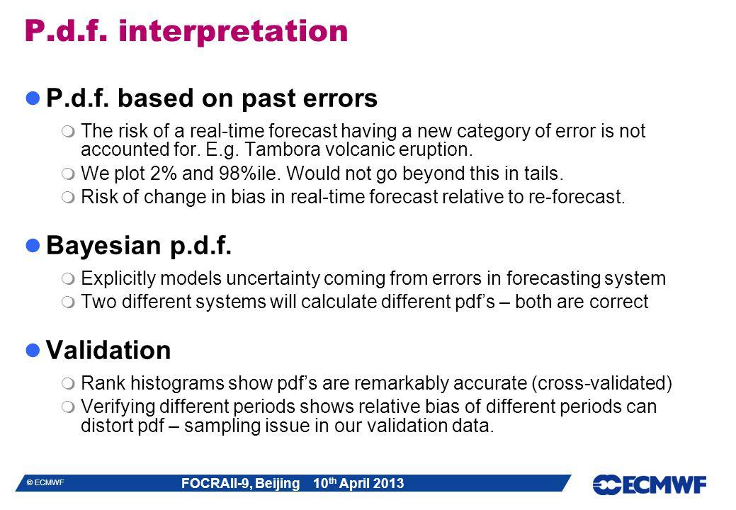 P.d.f. interpretation P.d.f. based on past errors Bayesian p.d.f.