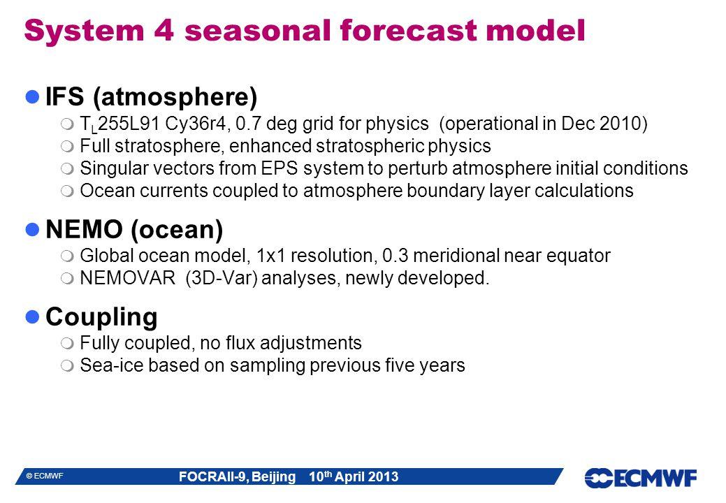 System 4 seasonal forecast model
