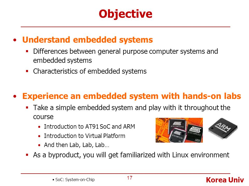 Objective Understand embedded systems