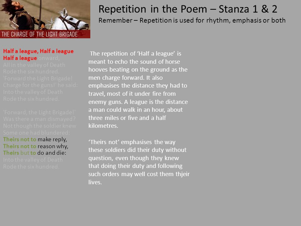 Repetition in the Poem – Stanza 1 & 2
