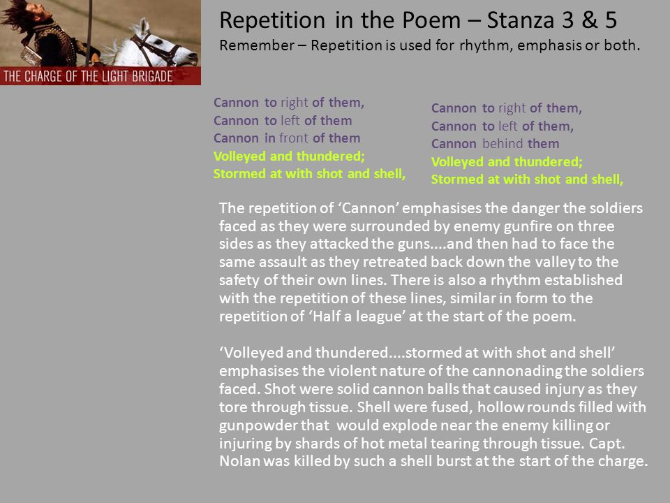 Repetition in the Poem – Stanza 3 & 5