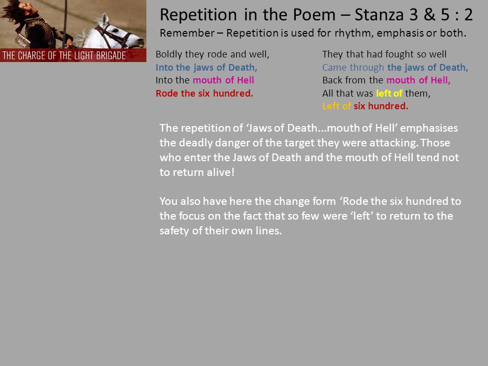 Repetition in the Poem – Stanza 3 & 5 : 2