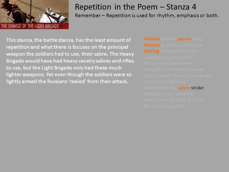 Repetition in the Poem – Stanza 4