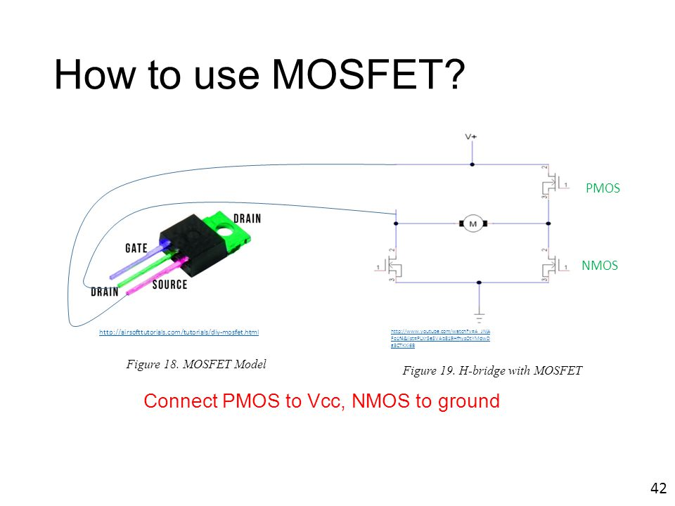How to use MOSFET Connect PMOS to Vcc, NMOS to ground 42 PMOS NMOS