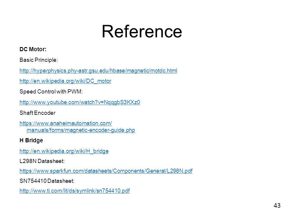 Reference 43 DC Motor: Basic Principle: