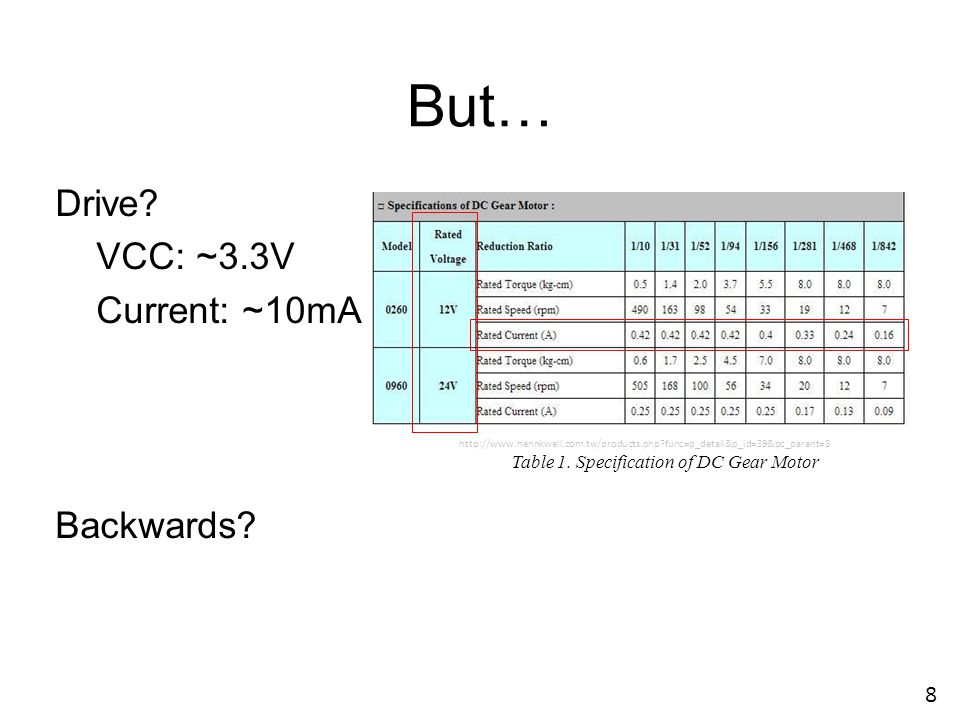 But… Drive VCC: ~3.3V Current: ~10mA Backwards 8