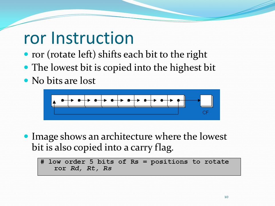 ror Instruction ror (rotate left) shifts each bit to the right