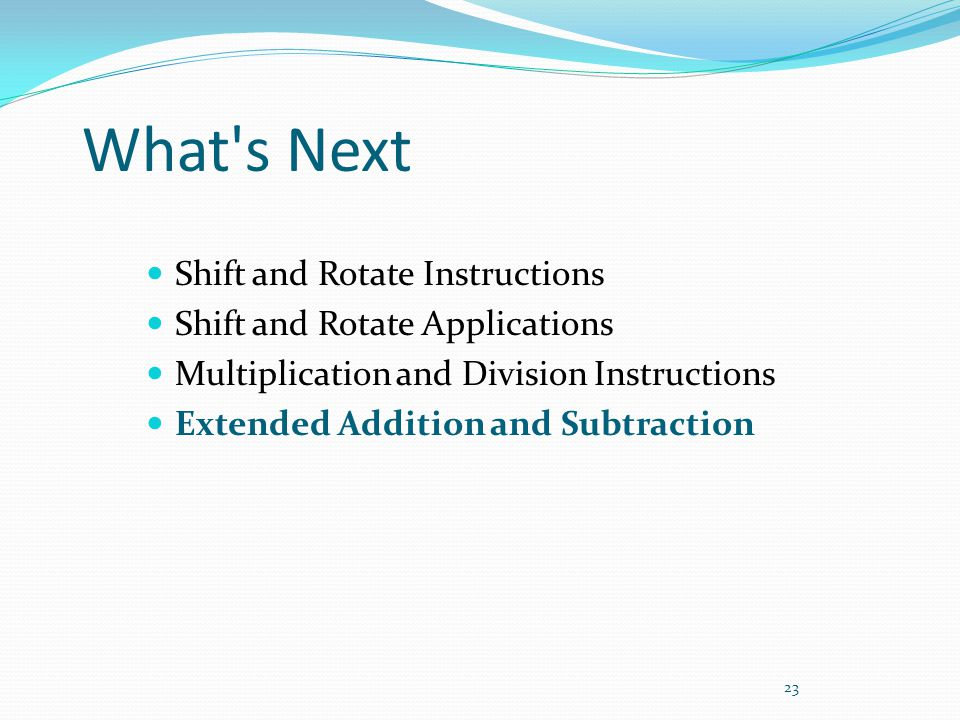 What s Next Shift and Rotate Instructions
