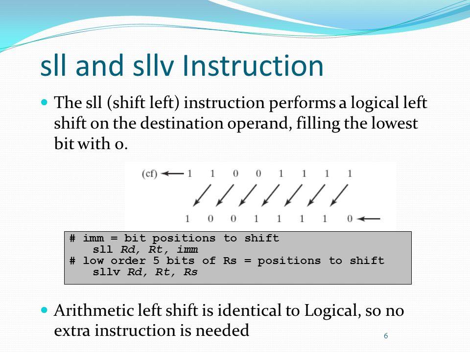 sll and sllv Instruction