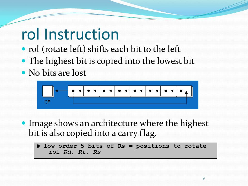 rol Instruction rol (rotate left) shifts each bit to the left