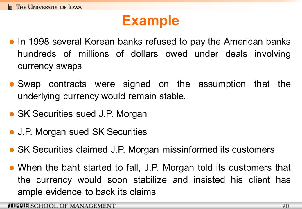 Example In 1998 several Korean banks refused to pay the American banks hundreds of millions of dollars owed under deals involving currency swaps.