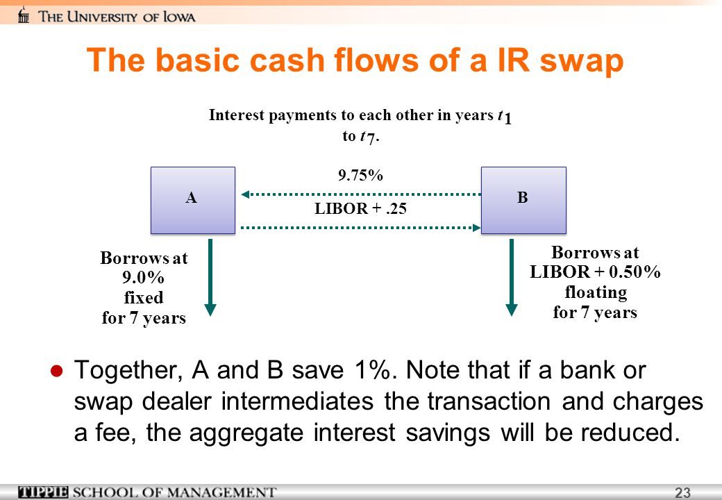 The basic cash flows of a IR swap