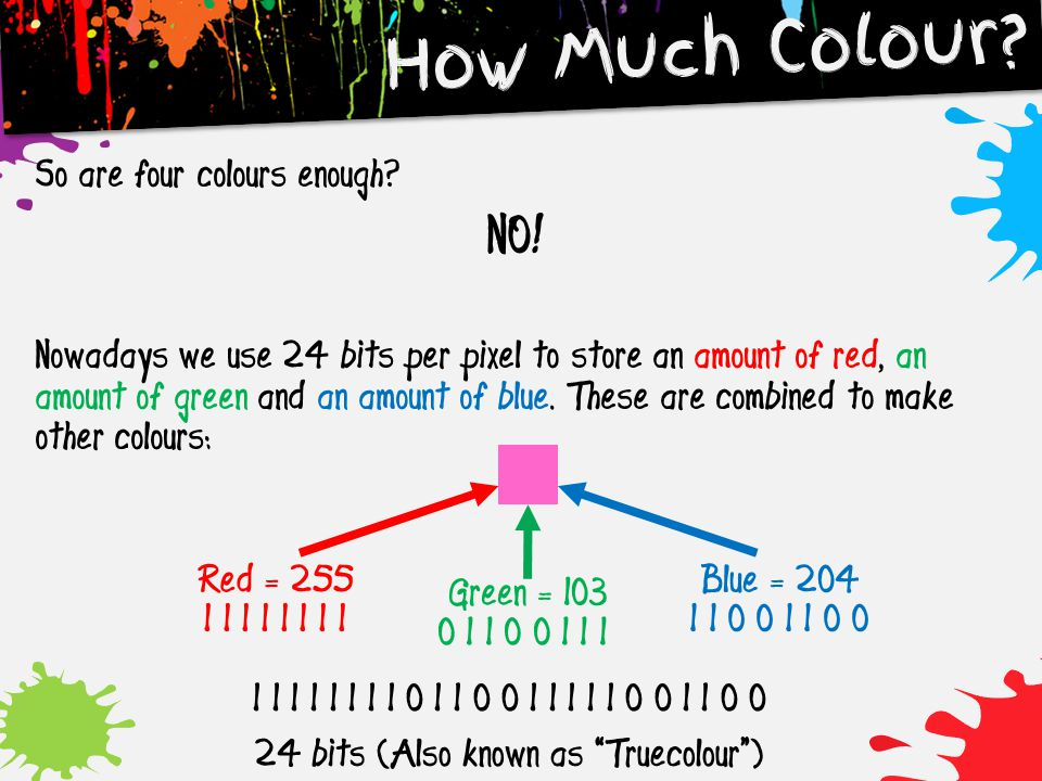 24 bits (Also known as Truecolour )