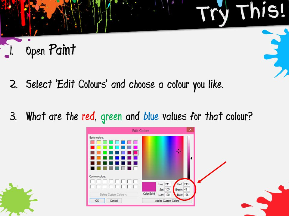 Try This. Open Paint. Select 'Edit Colours' and choose a colour you like.