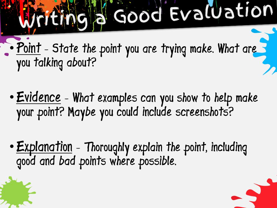 Writing a Good Evaluation