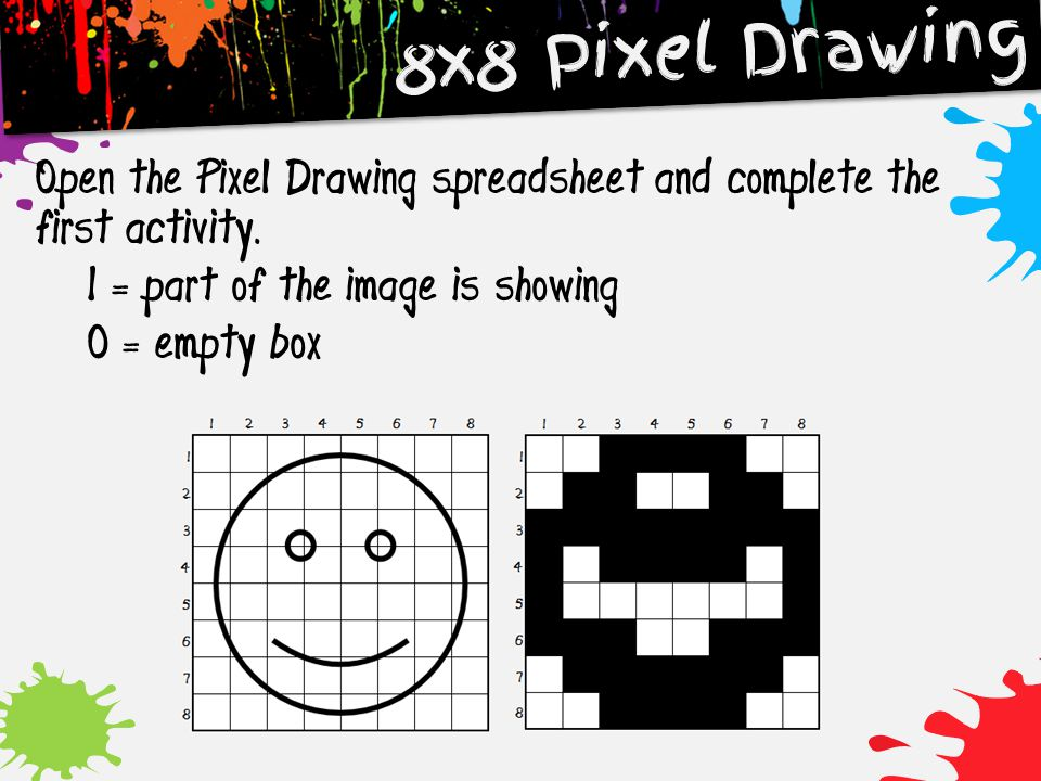 8x8 Pixel Drawing Open the Pixel Drawing spreadsheet and complete the first activity.