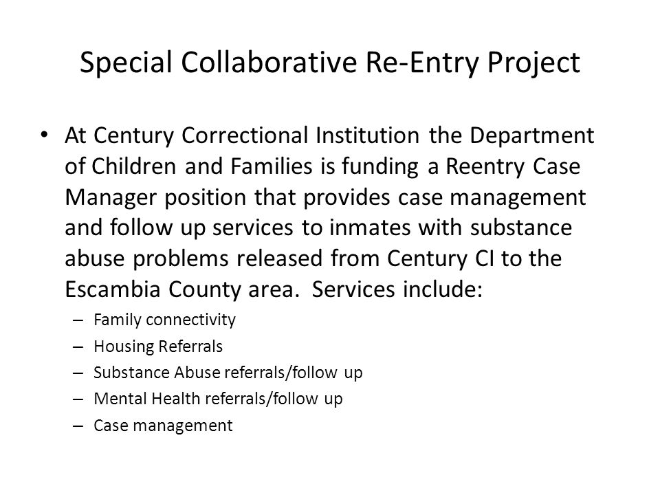 Special Collaborative Re-Entry Project