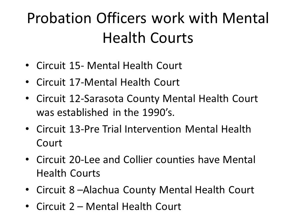 Probation Officers work with Mental Health Courts