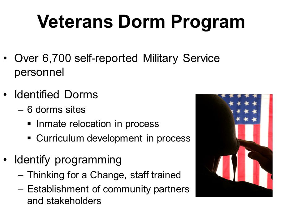 Veterans Dorm Program Over 6,700 self-reported Military Service personnel. Identified Dorms. 6 dorms sites.