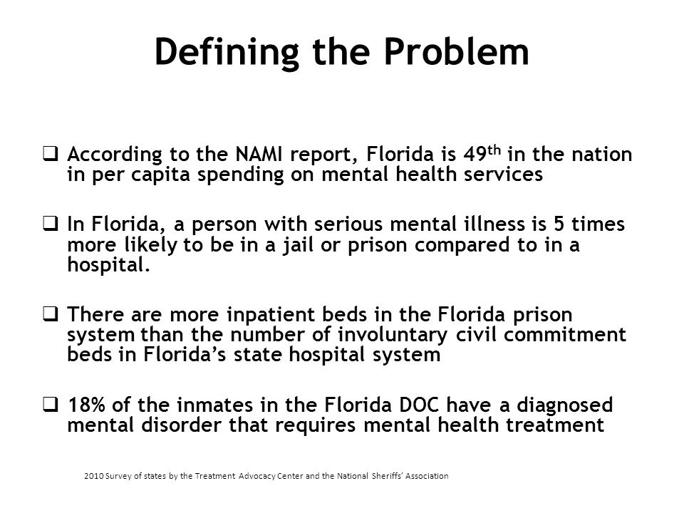 Defining the Problem According to the NAMI report, Florida is 49th in the nation in per capita spending on mental health services.