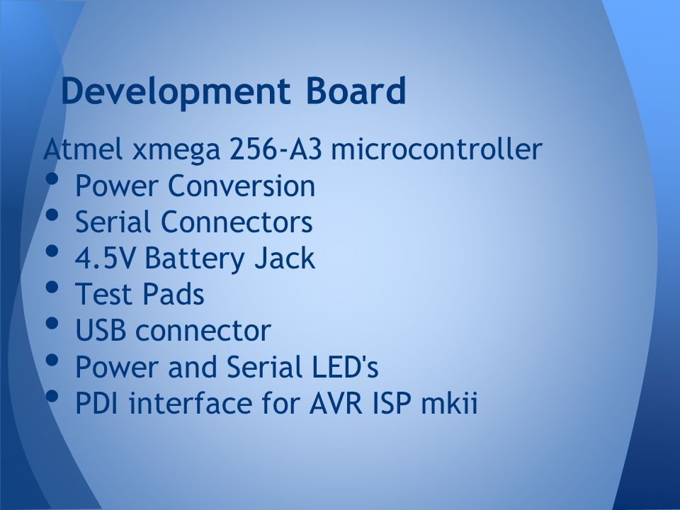 Development Board Atmel xmega 256-A3 microcontroller Power Conversion