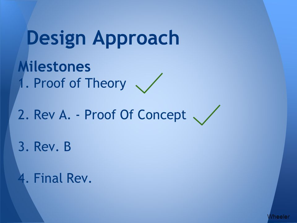 Design Approach Milestones 1. Proof of Theory