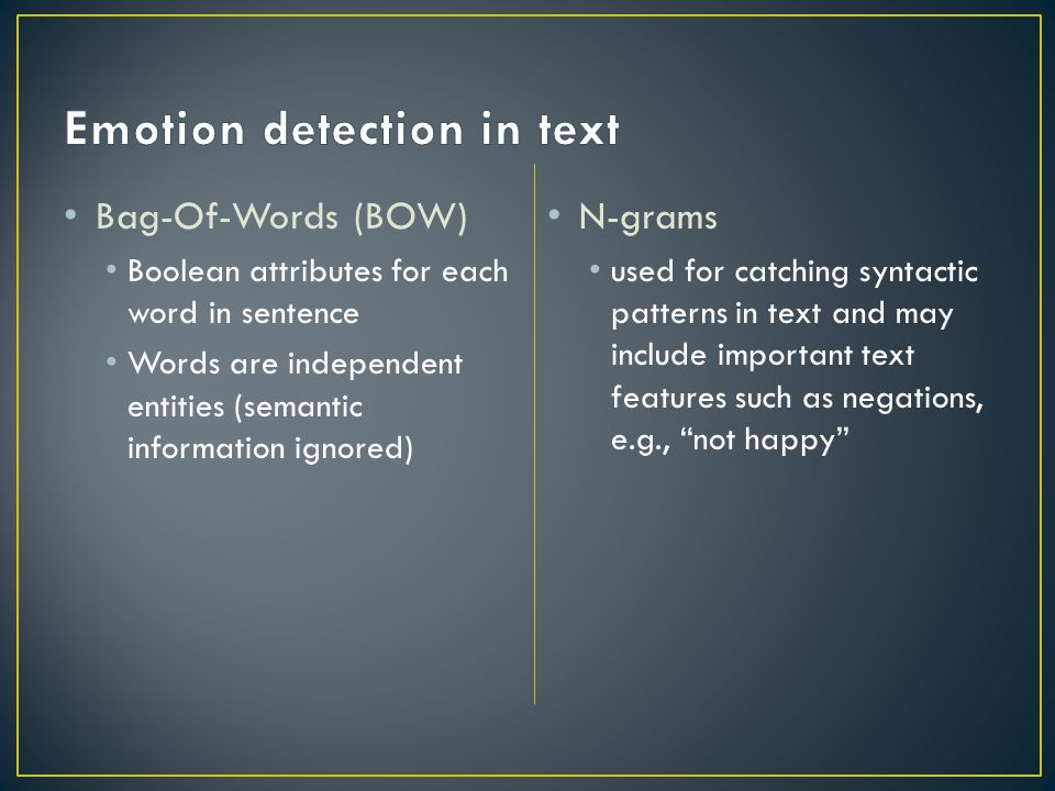 Emotion detection in text