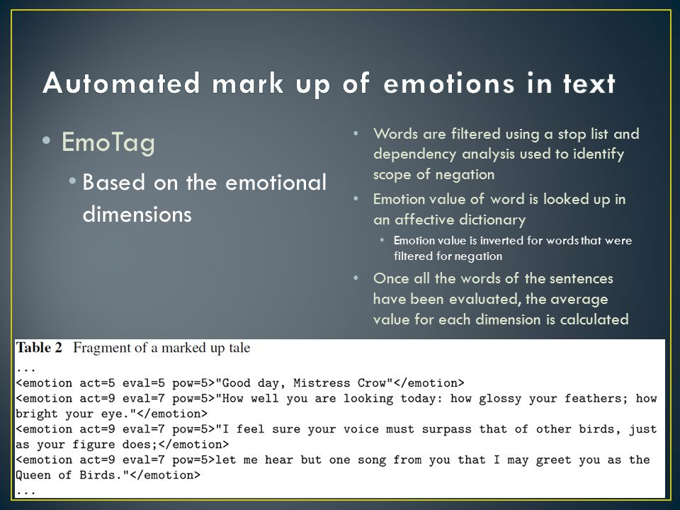 Automated mark up of emotions in text