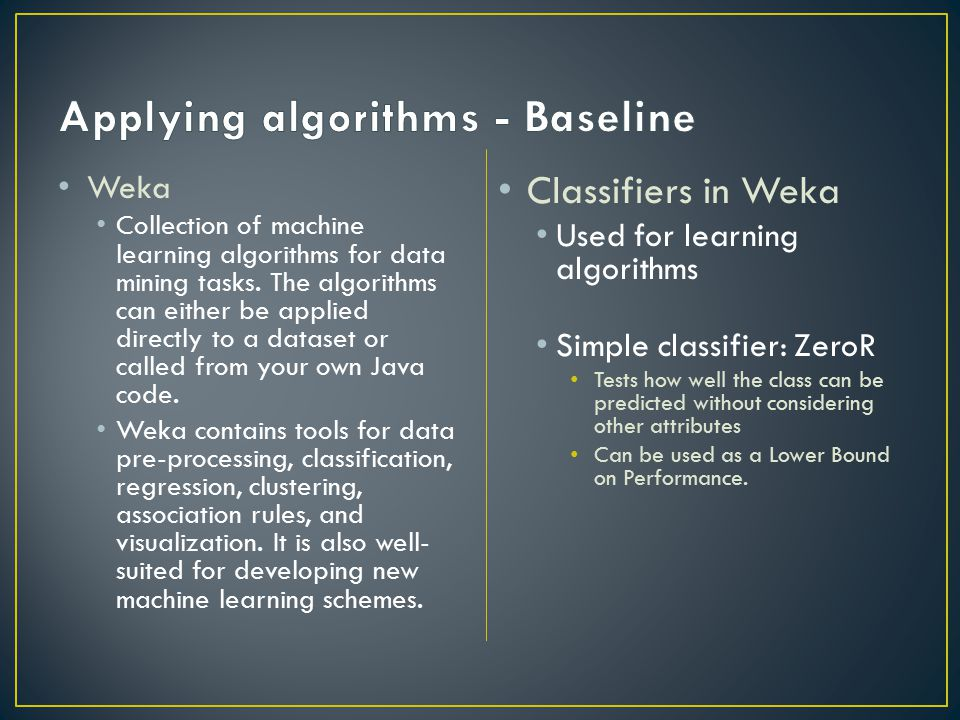 Applying algorithms - Baseline