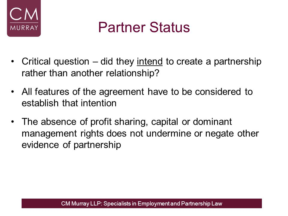 Partner Status Critical question – did they intend to create a partnership rather than another relationship