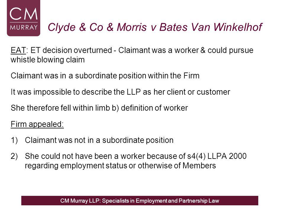 Clyde & Co & Morris v Bates Van Winkelhof