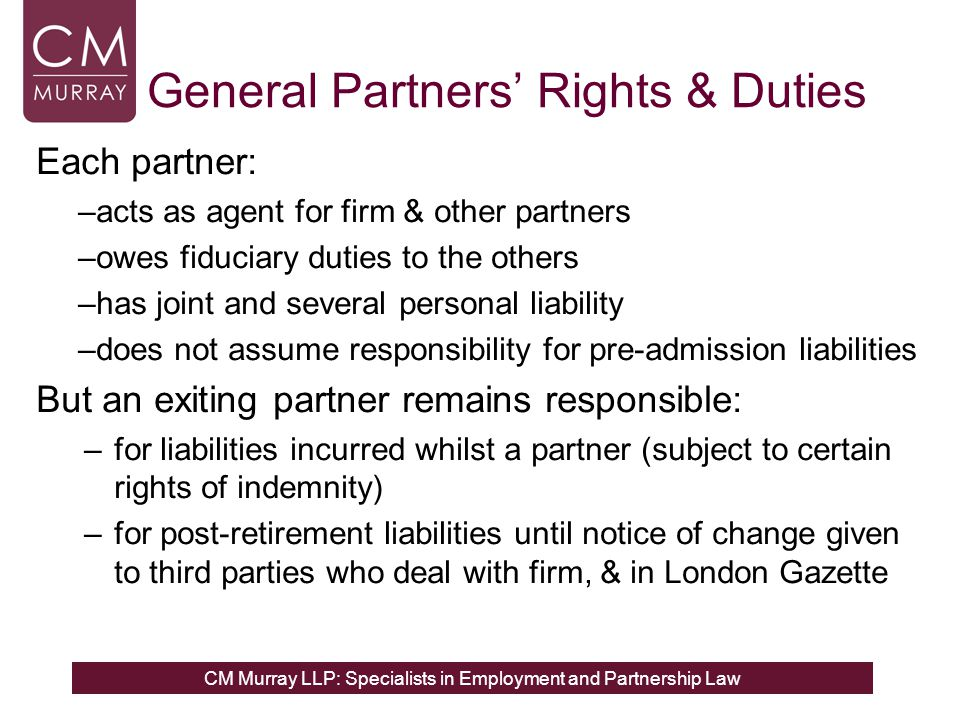 General Partners' Rights & Duties