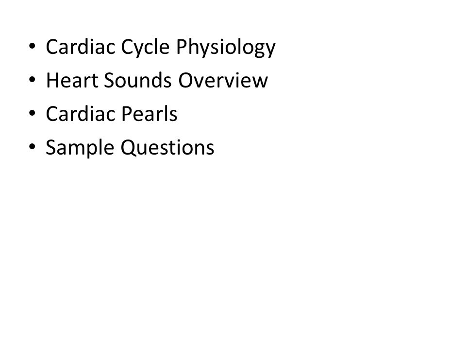 Cardiac Cycle Physiology