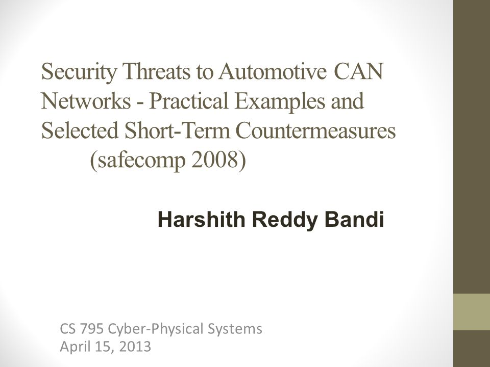 CS 795 Cyber-Physical Systems April 15, 2013
