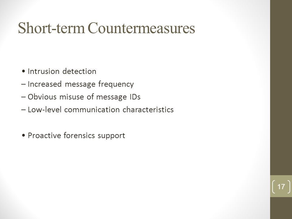Short-term Countermeasures