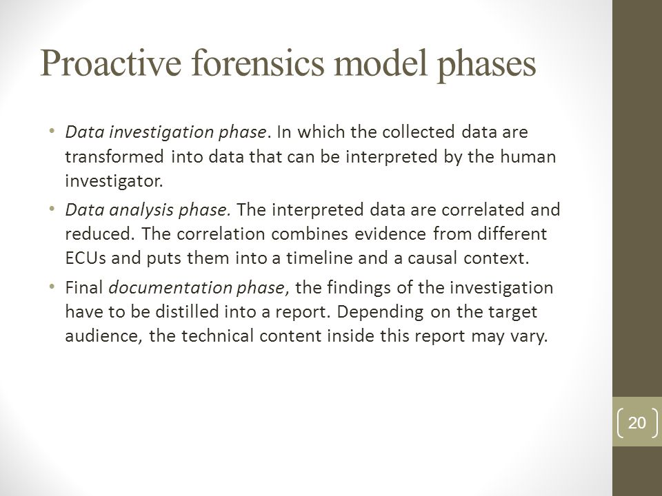 Proactive forensics model phases